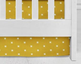 Golden Mustard Cross Crib Skirt, baby bedding, nursery, plus design, mustard, modern plus bedding, bright mustard  crib bedding, plus skirt