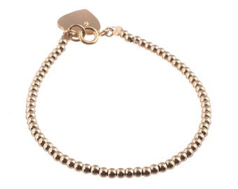 Gold Filled Beaded Bracelet ,3 mm ball Bracelet ,14k Gold Plated heart pendant,Stackable Everyday Bracelet ,HandMade 14k goldfilled bracelet