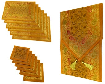 Yellow Color Handmade Indian Silk Brocade Table Runner with Placemats and Coasters in Size 16x62 Inches