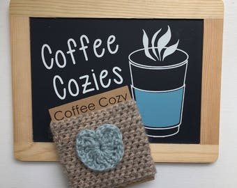 Coffee Cozy | Crochet Coffee Cozy |  Coffee Sleeve - Heart