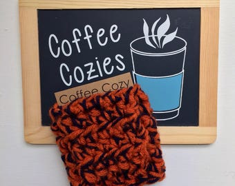 Coffee Cozy | Crochet Coffee Cozy |  Coffee Sleeve - Orange and Navy