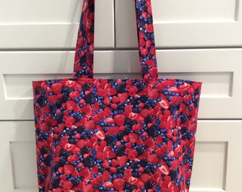 Tote Bag-Very Berry Tote Bag-Grocery Tote-Reusable Grocery Bag-Market Tote-Tote Bag-Fruit Tote Bag-Purse-Recycle