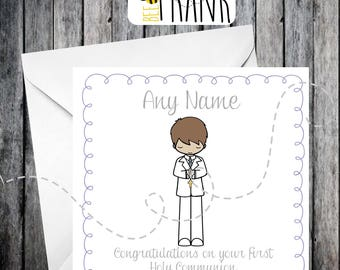 Cute First Holy Communion card, boy, personalised