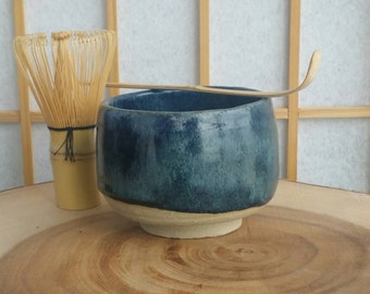 Blue chawan, matcha teabowl for Japanese tea ceremony