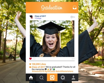 Graduation Instagram Frame Photo Booth Prop, Bespoke Design, Personalised Frame, Digital Download, Instagram Photo Prop, University, College