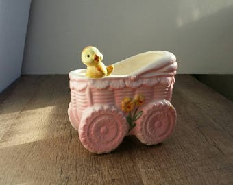 Vintage Inarco Baby Carriage Planter with Little Bird