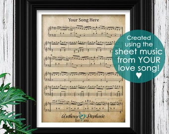 100% Cotton Paper | 2nd Anniversary Gift for Men | Personalized mens gift | Custom Sheet Music | Family Established | 2 Year Anniversary