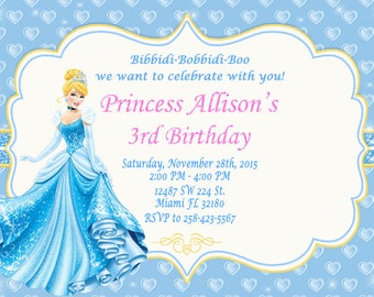 Princess Cinderella Invitation Birthday Princess Cinderella Party