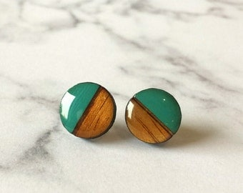 Two tone stud earrings in Teal