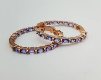 Vintage Rose Gold over Sterling & Oval Cut Tanzanite Hoop Earrings