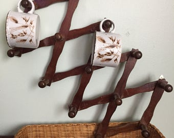 Vintage Folding/Accordian, Hanging Rack with 13 Pegs- Wooden