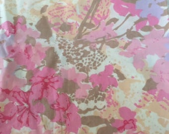 Vintage mod floral pillowcase in pretty pinks and yellows, free shipping!
