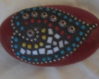 Red Mosaic Garden Rock - Paperweight