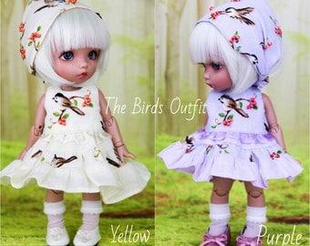 Birds outfit for Pukifee, Lati Yellow BJD dolls 1/8 (dress, socks, kerchief/headband)