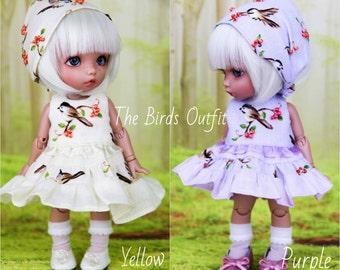 "Outfit  ""Birds"" for BJD dolls 1/8  (dress, socks, kerchief/headband)"