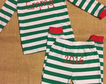 Monogrammed Christmas Pajamas - Children Apparel