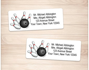 "Printable Bowling Address Labels - Pins and Ball - Personalized 2 5/8"" x 1"" Address Labels - Editable PDF - Instant Download"