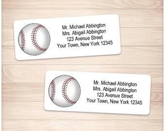 "Printable Baseball Address Labels - Sports Athletic Ball Baseball - Personalized 2 5/8"" x 1"" Address Labels - Editable PDF Instant Download"