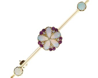 Antique Opal Ruby Diamond Brooch