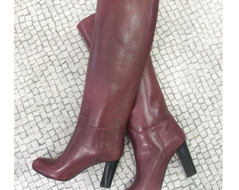 BOOTS SALES, Burgundy knee high boots, Burgundy leather high boots, Winter high boots, Handmade leather boots, Red leather boot, Winter