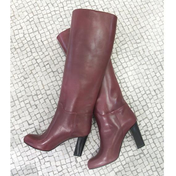 botte cuir bordeaux bottes femme boots bordeaux bottes. Black Bedroom Furniture Sets. Home Design Ideas