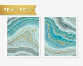 Set of 2 Teal Agate Wave with Gold Foil Art Print