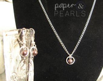 Swarovski Pearl Bridesmaid Necklace Earring Gift Set in Burgundy