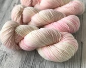 PETAL PINK -  handdyed yarn - tonal very light pink colorway on an off-white base