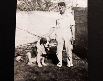 St. Bernard Dog Posing Outside Man Old Vintage Photograph