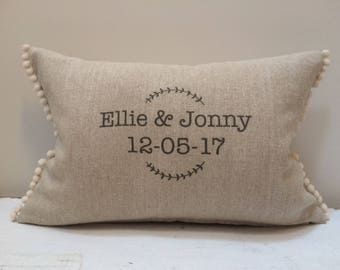 Wedding cushion. Personalize name and date. Anniversary linen cushion. Cushion with pompoms. Keepsake gift.
