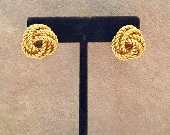 Golden Twist Knot Rope Pierced Earrings-Flash Sale!