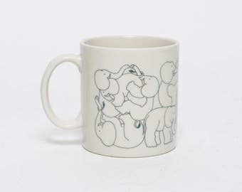vintage 1970s Taylor & Ng elephant orgy whimsical coffee tea cup