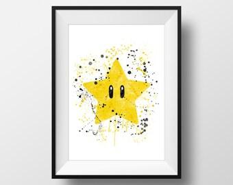 Star Super Mario, Nintendo Art, Super Mario Print, Boys Room, Kids Room *Instant Download