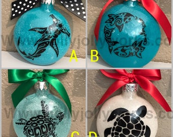 Glass ornament ,Turtle Ornament , Shark Ornament  , hawaiian Ornament, Personalized