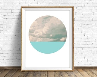 "nature photography, large art, large wall art, printable art, instant download printable art, landscape prints, art - ""Cloudscape and Aqua"""