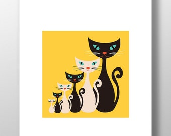 Atomic Kitty Yellow Print - Retro Vintage Mid Century Cats Unframed
