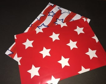 100  10x13 PATRIOTIC Assortment Flags and Stars Red White Blue Poly Mailers Self Sealing Envelopes 50 Each