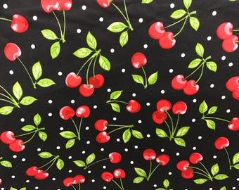 Cherry fabric, summer fruit fabric, fruit fabric, novelty fabric, summertime, black fabric, retro style fabric