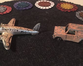 Vintage Metal Toy Airplane and Jeep