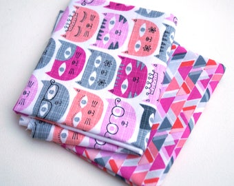 Pink and Grey Quilt Fabric Fat Quarters with Fun Cats - Modern Cotton Fabric in Kittens with Glasses and Tiaras