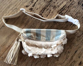 OOAK White Flower Canvas Fanny Pack