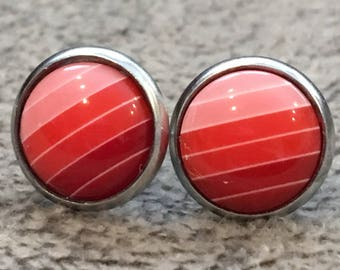 Red Stripe Ombre Stud