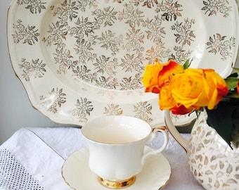 Exquisite Gold & Cream Chintz Vintage Alfred Meakin Large Serving Platter