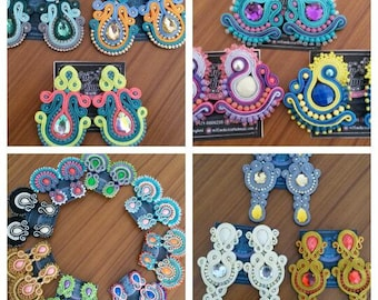100 pairs of large soutache earrings