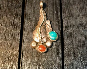 Vintage Native American Sterling Silver/ Turquoise & Red Coral Pendant    #193