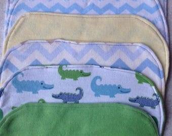 Flannel baby burp cloths in boy colors - sold in set of 3