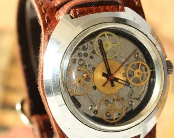 Skeleton Massive Watch, Steampunk watch, Wrist watch. Mechanical watch