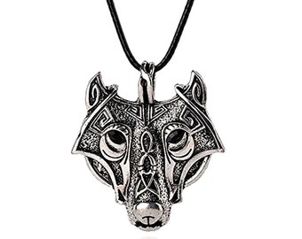 Vikings Norse  Wolf,Magic Amulet Necklace.Wolf head,Wild Men Jewelry,Animal Original necklace