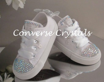 Girls Custom Crystal  Toes, Tongue & Bow Backs *Bling* Converse  Infant Sizes 2-10. Various Options available