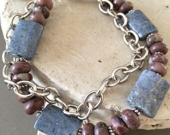 Blue Sponge Coral Bracelet, Crazy Horse Jasper Bracelet, Chain and Stone Bracelet